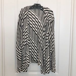 Chico's Black Stripe Open Cardigan Size 3